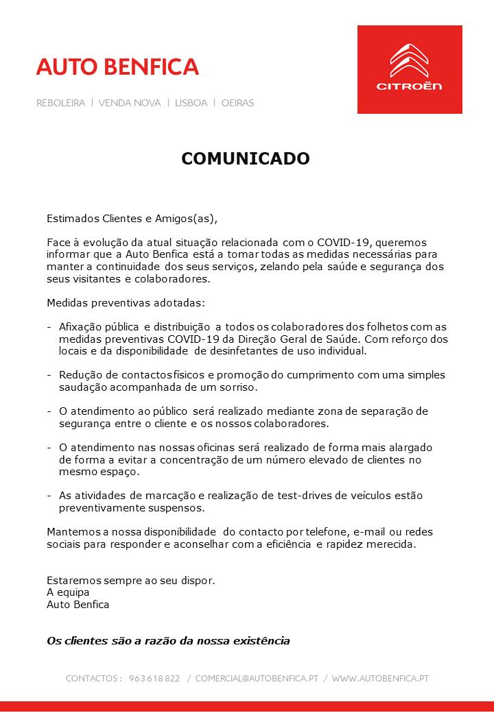 Comunicado Auto Benfica sobre Covid-19