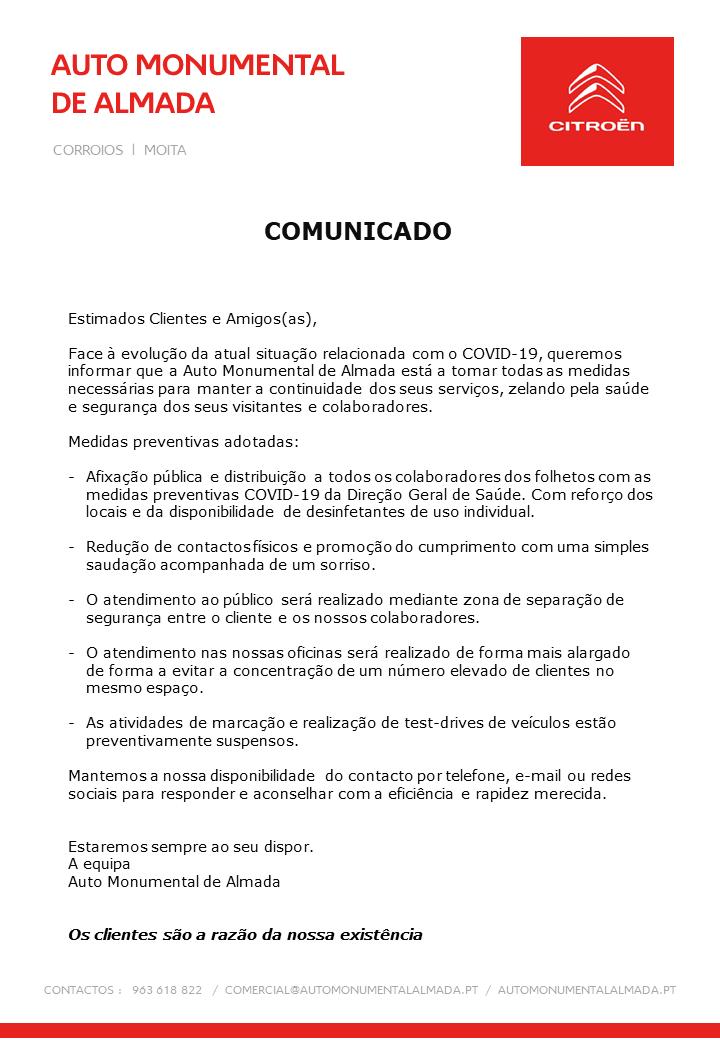 Comunicado Auto Monumental de Almada sobre Covid-19